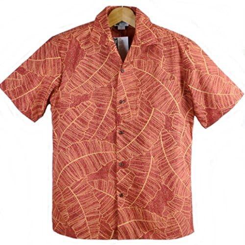アロハシャツ ハワイ製 メンズ ワインレッド・バナナリーフ柄 ALOHA REPUBLIC