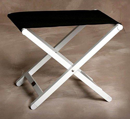 (Sutton Bridge Monterey Folding Footstool in Jet Black & White Frame)