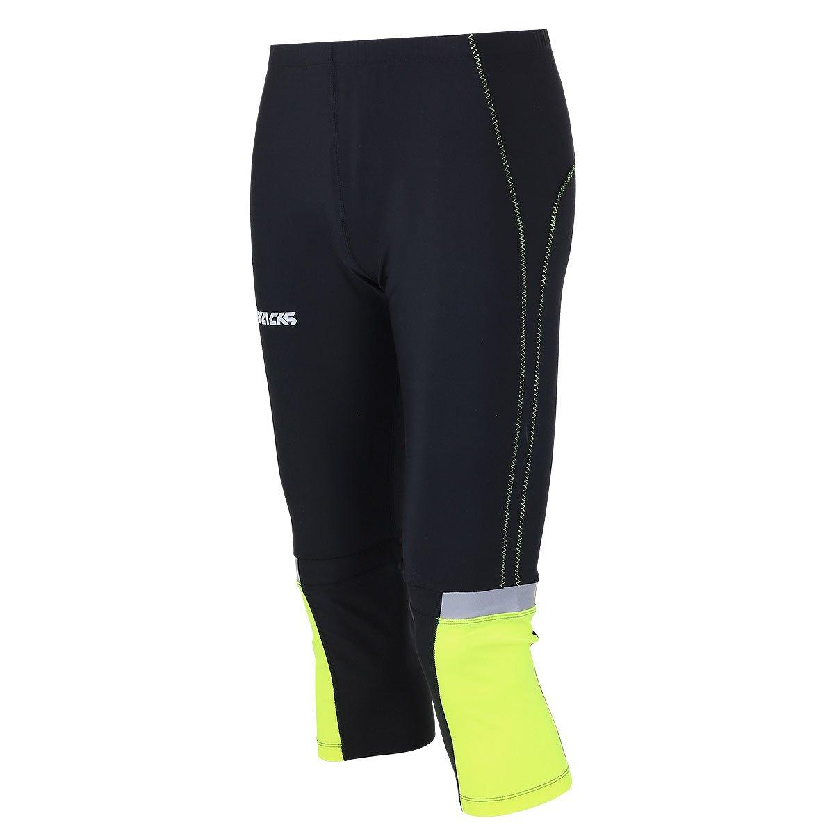 AIRTRACKS funktions Pantalon de Course 3/4Long/de Compression Tight réflecteurs Running/Respirant/Noir Fluo