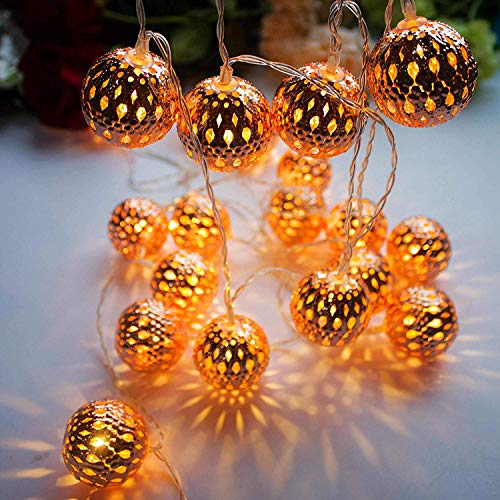 Moroccan Globe String Lights Rose Gold,Christmas Tree Decorations,Battery Operated (9.84 feet/ 20 LED) , Water-resistant Ball Lantern light - Bedroom,Wedding,Yard,Garden,Patio,Party- Warm White