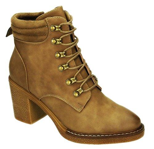 Damen Schnür Stiefeletten Knöchelhohe Ankle Boots Kurzschaft Stiefel Blockabsatz 287 Khaki
