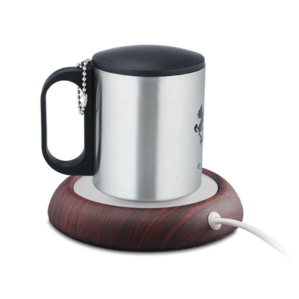 leegoal Kaffee Becher Wärmer, USB Desktop Tassenwärmer, elektrisch Getränke Heizung Aluminium Platte mit Nussbaum dunkel Holz Besatz für Office/Home Verwenden