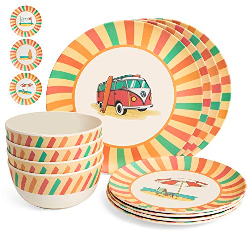 Set Piece 12 Camping (Markket Online Bamboo Dinnerware Set 12 Pieces - Camping, Kids and Family Reusable Dishes - Small and Large Plates, Bowls - Durable, Lightweight, Eco-Friendly, Non-Toxic Dishware Kitchen Home)