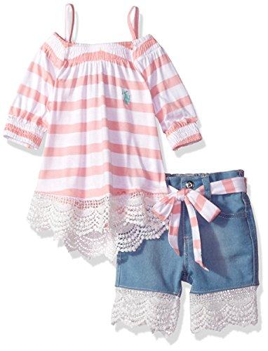 Lace Trim Jersey Top - U.S. Polo Assn. Baby Girls Fashion Top Set, Striped Jersey Lace Trim Midi Short Multi, 12M