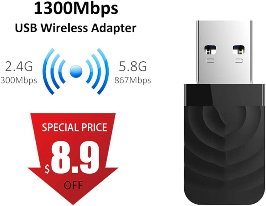 Mac OS 7//8//10 Lcme WiFi Dongle 5.8G Wireless AC WiFi Adapter for Windows XP//Vista 1300Mbps Mini USB WiFi Adapter Dual Band Network Card to 2.4G