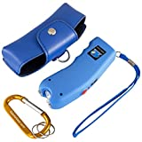 Stun Gun w/Flashlight, Panic Alarm, Rechargeable Internal Battery, Safety Pin, Wrist Strap, Carabiner & Clip-on Carry Case. Includes Quick Set-up and ''How To'' Guides. (Electric Blue)