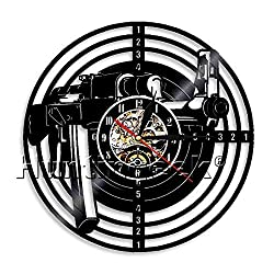 Shooting Gun Vinyl Record Wall Clock Shooting Target Vinyl Clock Air Rifle Circle Modern Vinyl Wall Art Decorative Clock (Without LED)