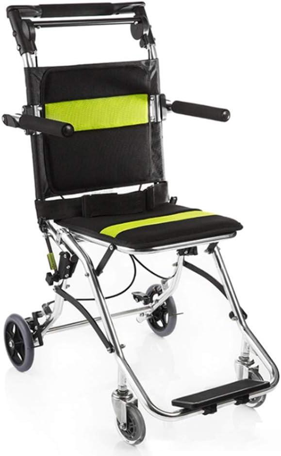YWSJGH Transporte Silla de Ruedas, Silla de Ruedas de Aluminio Plegable portátil de embarque del Recorrido con el Freno de Mano Integrado y estacionamiento del Freno de pie, con el Bolso