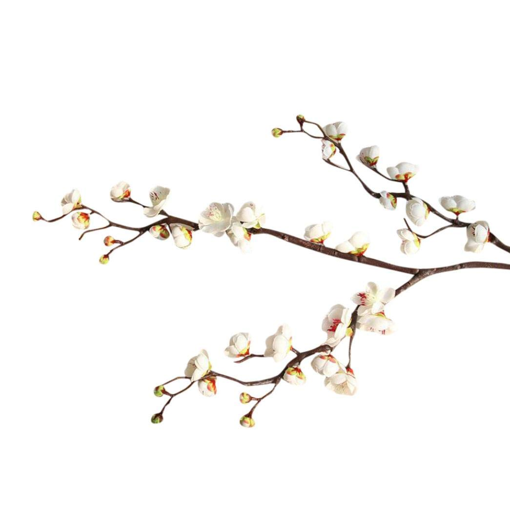 Artificial Flowers, MaxFox Fake Plum Blossom Bouquet Silk Flower Bouquets Home Office Wedding Party Decor (White)