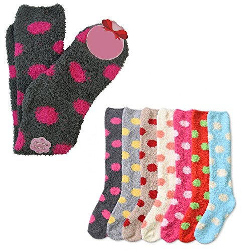 Fuzzy Socks Dot (12 Pairs Women Girl Long Knee High Winter Socks Cozy Fuzzy Slipper Warm Lot 9-11)