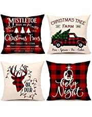 Andifany Christmas Buffalo Check Plaid Throw Pillow Covers Cushion Case for Sofa Couch 18 x 18 Inches
