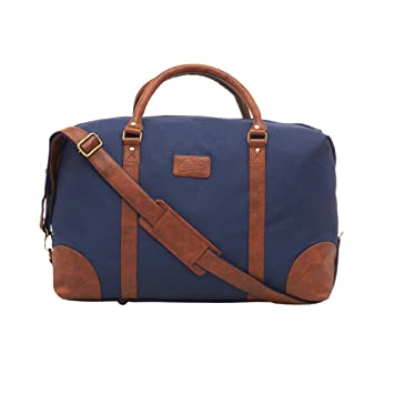 5e84a4a1741 Image Unavailable. Image not available for. Colour  Leather World 46.2  Liter Blue 21 Inch PU Leather Nylon Duffle Bags with Zip Closure Luggage