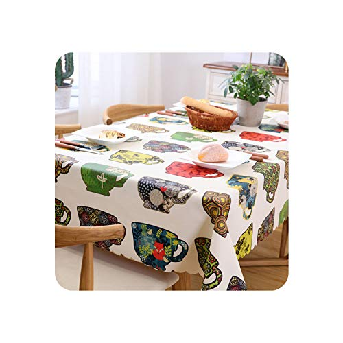 - Sudran-baby Proud Rose Green Leaves Table Cloth Waterproof Plastic PVC Oilproof Tablecloths Table Cover Home Decor,Style 6,135x180cm