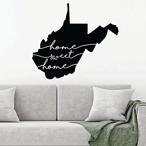 West Virginia Wall Decal - Home Sweet Home - State Silhouette Vinyl Art for Home Decor, Living Room or Family Room (Bear Pride Design)