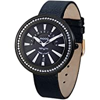 Moog Paris Night & Day Vogue Women's Watch with Black Dial, Black Genuine Leather Strap & Swarovski Elements - M45562-104