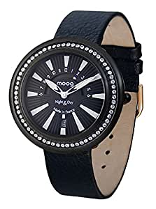 Moog Paris Night & Day Vogue Women's Black Dial Leather Band Watch - M45562-104