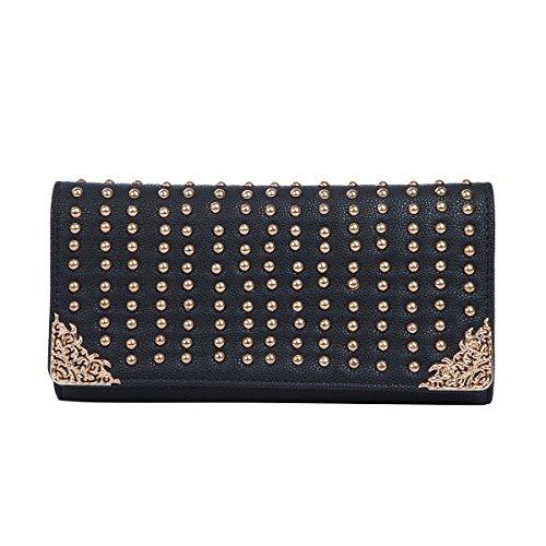 Premium Large PU Leather Studded Front Flap Clutch Bag Handbag, Black