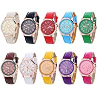 Geneva Women's 10 PCS Watches Crystal Wristwatch Set Leather Jelly Band