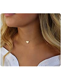 da98bfa73a Womens Simple Delicate Handmade 14K Gold Filled Rose Gold Simple Delicate  Heart and Bar Necklace Chokers
