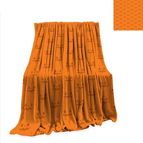 Summer Quilt Comforter Halloween Seamless Pattern Jack o Lantern Pumpkin Faces Repeated on Halloween Colors Orange Background Vector Illustration 70