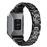 bayite Replacement Metal Bands for Fitbit Ionic Accessories Bracelet Band with Rhinestone Bling Adjustable Wristband for Fitbit Ionic Smart Watch Black
