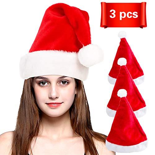 Adult Santa Hat Unisex Red Christmas Santa Hat for Adults or Children Hat 3PCS