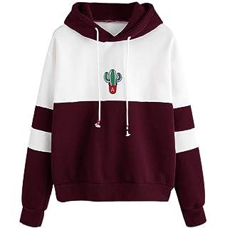 LONUPAZZ Sweat à Capuche Femmes Imprimé Cactus Casual Hooded Sweat-Shirt  Pullover Tops Chemisier b3d84c99a6d