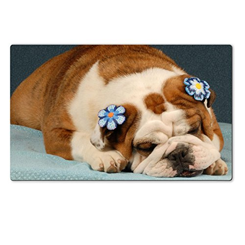 Liili natural rubber Large Table Mat IMAGE ID: 4672076 adorable english bulldog wearing blue flowers on ears on blue background