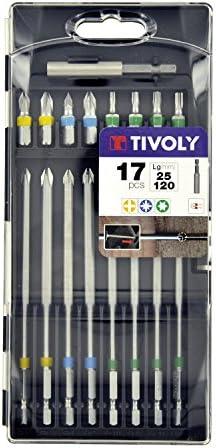 Gris Set de 17 Pi/èces 25//120mm Tivoly 11501570038 Coffret dEmbouts de Vissage