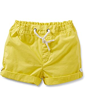 Girls Cotton Roll Cuff Shorts (5 Toddler, Yellow)