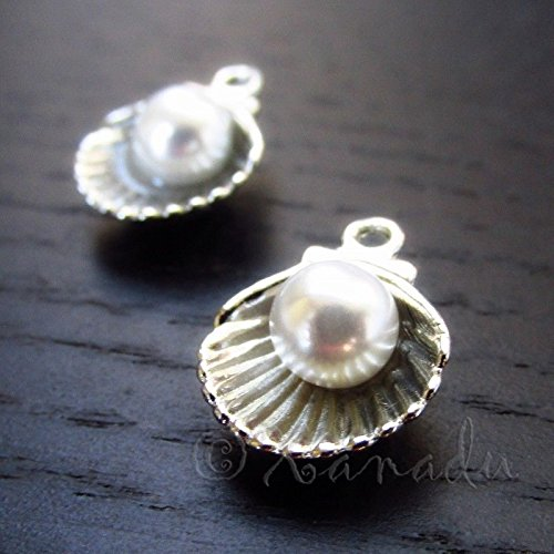 - OutletBestSelling Pendants Beads Bracelet Scallop Shell With Pearl 15mm Silver Plated Seashell Charms 10pcs