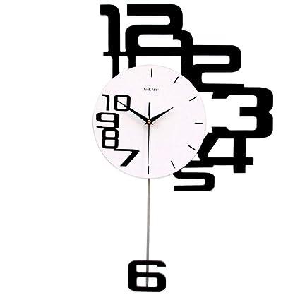 YHviking Arte de Pared Relojes con péndulo,Creativo Gran número Fácil de Leer Reloj para