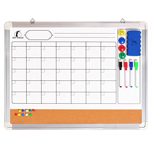 Whiteboard Monthly Wall Calendar Set - Magnetic Planner Dry Erase/Cork Board 24 x 18 in + 1 Magnetic Eraser, 4 Colorful Dry Wipe Markers, 4 Magnets and 10 Pins - Small White Bulletin Board