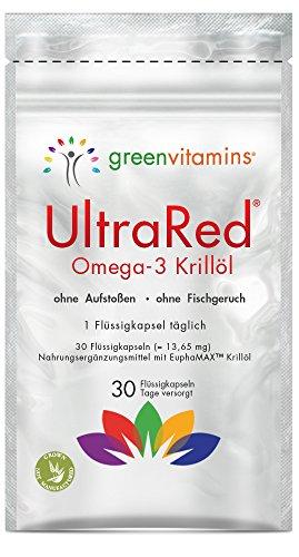 Krillöl Omega 3 Kapseln - Super Omega-3 fürs Herz einzigartig mit EuphaMAX Krill öl. EPA und DHA Fettsäuren aus der Antarktis. UltraRed - 1 x 30 Omega-3 Krilloel Kapseln von greenvitamins