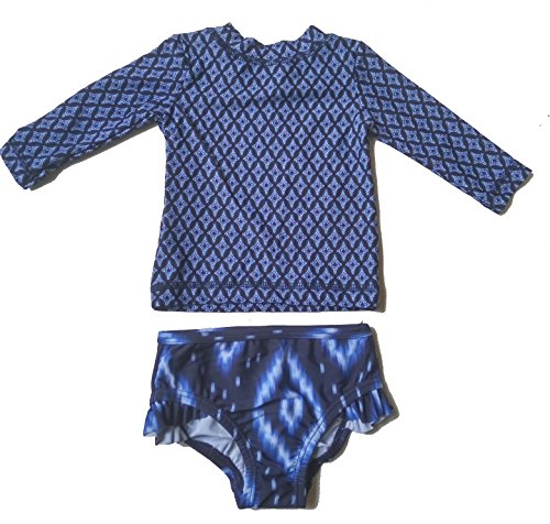 long Sleeve Swimming Costume Floral Swimsuits Baby Girls & Boys(3-Month, Blue)