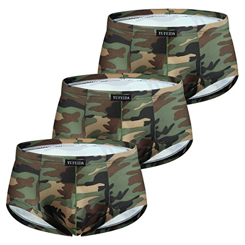 Low Rise Mini Brief - Men's Mini Boxer Brief Camouflage Low Rise Underpants Pack of 3