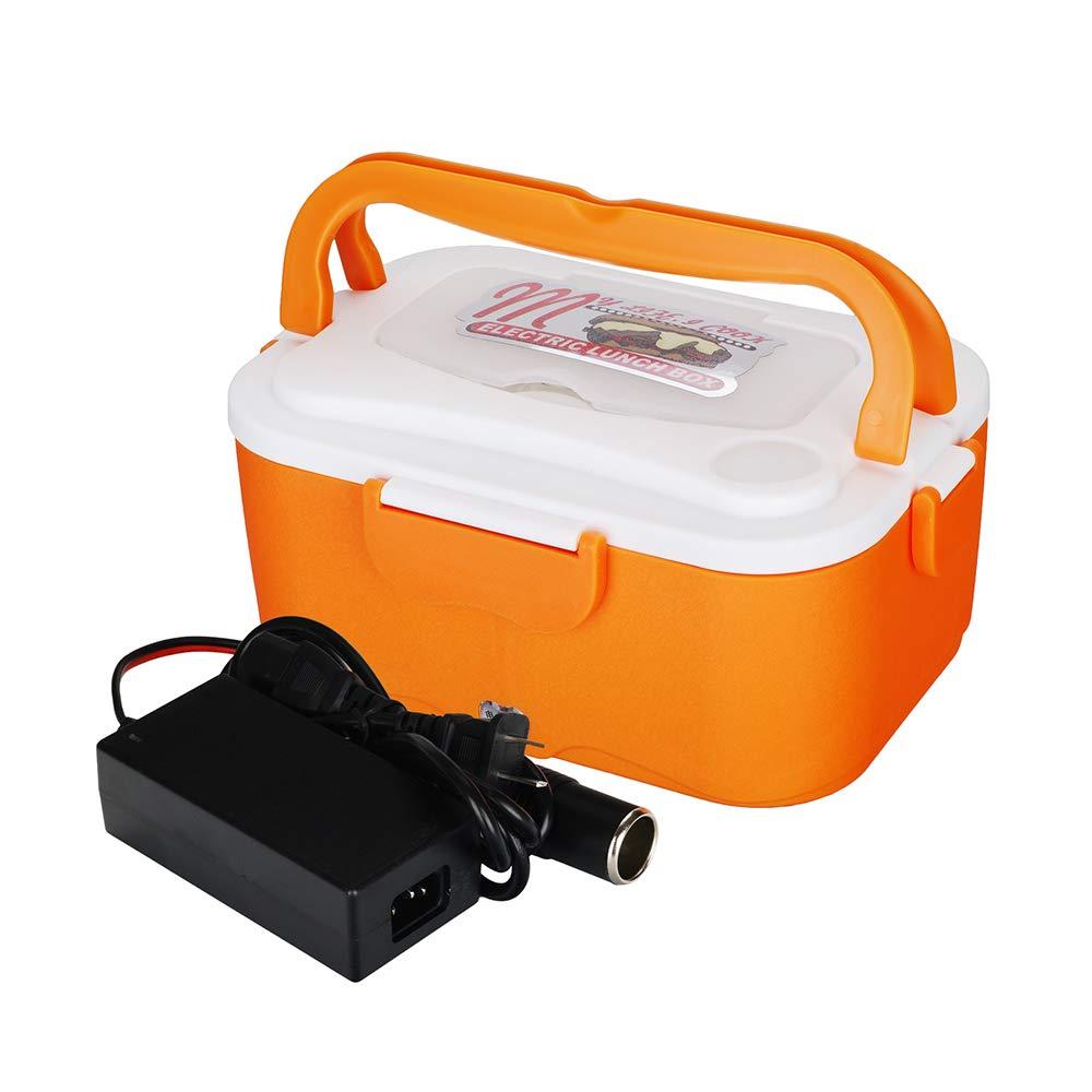 KKmoon Fiambrera Electrica 45W Calentador de Comida Electrico 24V 1.5L Tartera Trabajo para Comida Cliente de Acero Inoxidable con Dos Compartimentos y Cuchara