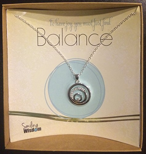 Smiling Wisdom - Balance Necklace Gift Set - 3 Round Circles Balancing - Cubic Zirconia - Real Sterling Silver Plated - Zen, Joy, Happiness, Serenity, Harmony Woman Jewelry Gifts for - Card Gift Balance Wish