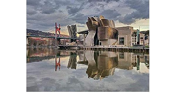 ZDwawz DIY 5d diamante Kit de Pintura,5D diamond painting,Cartel de paisaje Bilbao,Decoraciones Para El Hogar De Arte-30x40cm