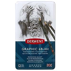 Lápis Grafite Derwent 6B-4H Graphic Média Dureza com 12 Lápis Caixa Metálica