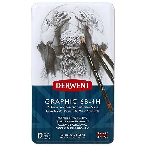 Derwent Graphic Drawing Pencils, Medium, Metal Tin, 12