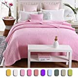 YaYi Cotton Quilt Pink Summer Comforter Quilted Breathable Blanket for Girls (80 inch x 90 inch) Solid Vibrant Coverlet Bedspreads Bedding Cover