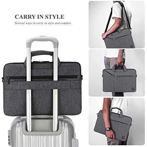 Laptop Bag,BRINCH Slim Water Resistant Laptop Messenger Bag Portable Laptop Sleeve Case Shoulder Bag Briefcase Handbag with Strap for Up to 15.6 Inch Laptop/NoteBook Computer Men/Women,Dark Grey by BRINCH (Image #4)