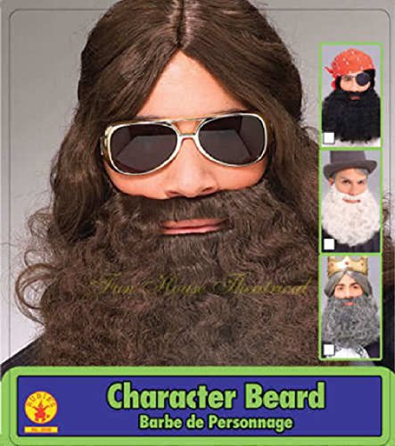 [Adult Mens Brown Hippie Curly Jesus Beard Costume Facial Hair Accessory] (Glitter Beard Costume)