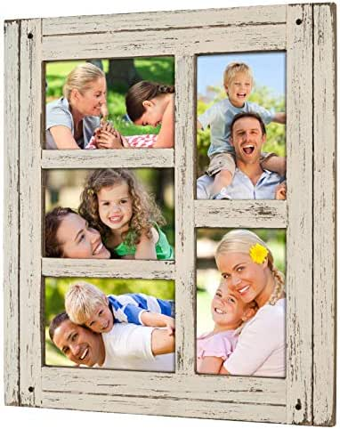 Collage Picture Frames from Rustic Distressed Wood: Holds Five 4x6 Photos: Ready to Hang or use Tabletop. Shabby Chic, Driftwood, Barnwood, Farmhouse, Reclaimed Wood Picture Frame Collage (White)