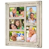 shabby chic picture frames Collage Picture Frames from Rustic Distressed Wood: Holds Five 4x6 Photos: Ready to Hang or use Tabletop. Shabby Chic, Driftwood, Barnwood, Farmhouse, Reclaimed Wood Picture Frame Collage (White)