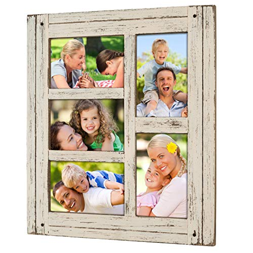 (Collage Picture Frames from Rustic Distressed Wood: Holds Five 4x6 Photos: Ready to Hang or use Tabletop. Shabby Chic, Driftwood, Barnwood, Farmhouse, Reclaimed Wood Picture Frame Collage (White))