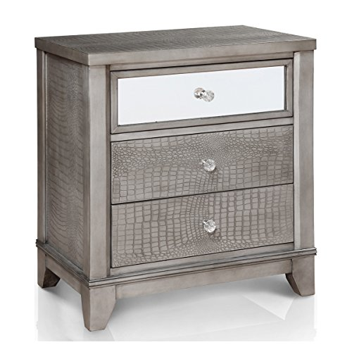 Modern Metal Wood Crocodile Textured 3 Drawer Silver Nightstand End Table with Mirror Glass on Upper Drawer - Includes Modhaus Living Pen (Mirror And Wood Nightstand)