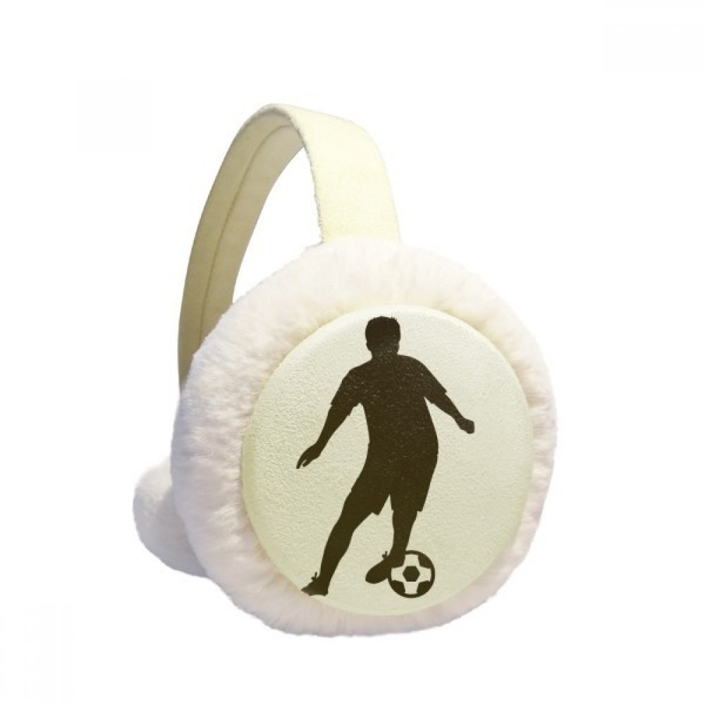 Soccer Football Sports Silhouette Winter Earmuffs Ear Warmers Faux Fur Foldable Plush Outdoor Gift