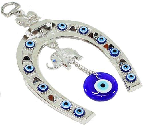 Turkish Blue Evil Eye (Nazar) Horse Shoe Elephant Amulet Wall Hanging Home Decor Protection Blessing Gift US Seller